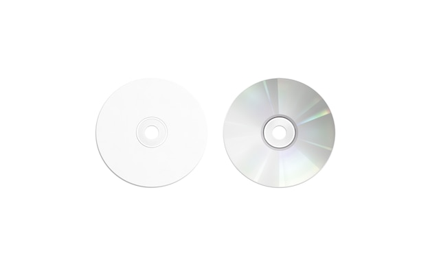 Makieta puste biały dysk kompaktowy, widok z góry, na białym tle