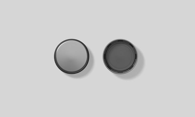 Makieta puste czarne plastikowe butelki czapki zestaw na białym tle