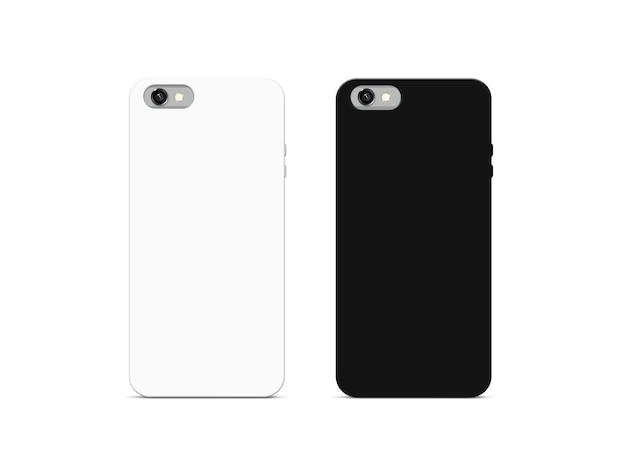Makieta puste czarno-białe etui na telefon, na białym tle
