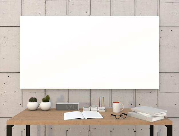 Makieta puste plakat z biurka i książek. renderowania 3d