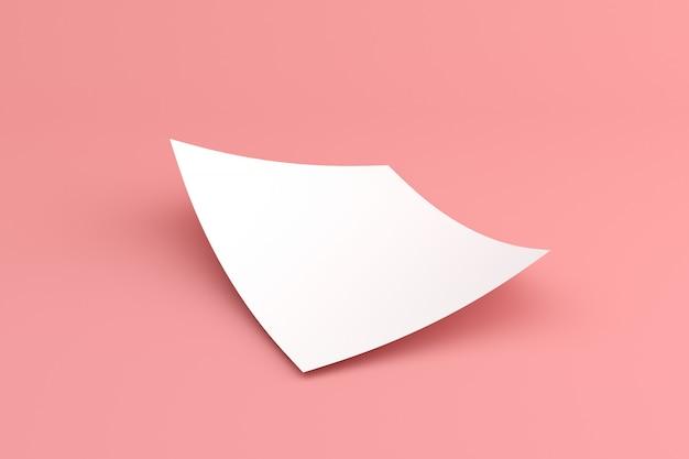 Makieta pustego białego papieru z lokami w minimalistycznym stylu.