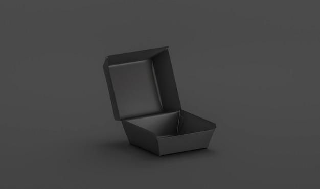 Makieta pustego czarnego otwartego pudełka z burgerami pusty pojemnik na lunch w pudełku na wynos cheeseburgera