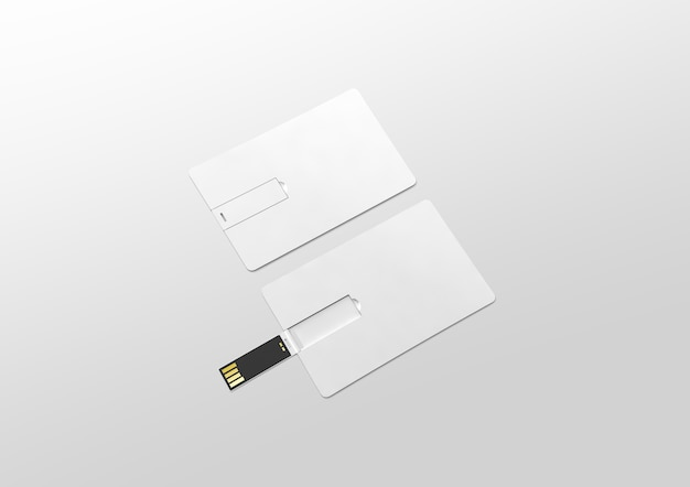 Makieta pustej białej plastikowej karty usb waflowej leżącej, otwartej i zamkniętej