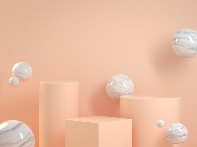 Makieta pusty beżowy pastelowy podium z marmurowym pływakiem abstrakcyjne tło renderowania 3d