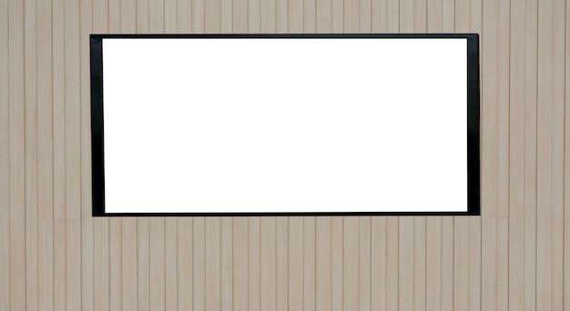 Makieta pusty biały ekran na drewnianej powierzchni