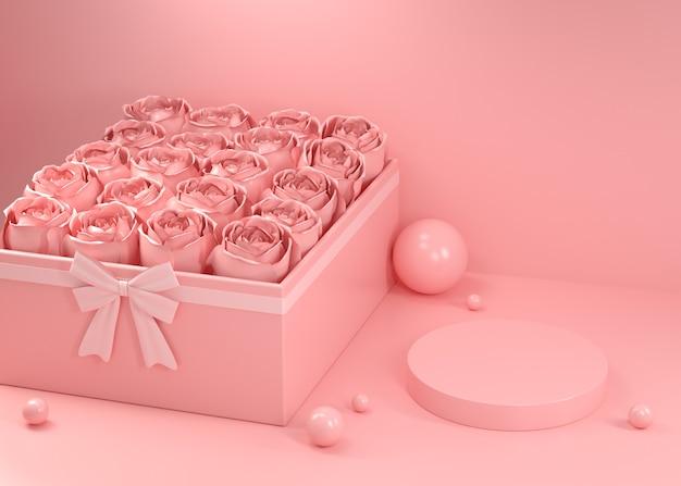 Makieta pusty wyświetlacz valentine rose gift box różowe abstrakcyjne tło renderowania 3d