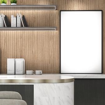 Makieta rama na drewnianej ścianie z niską szafką i półkąnowoczesny stylplakat makiety