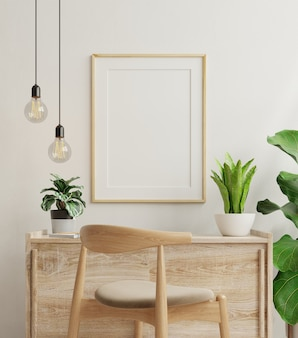 Makieta rama na stole roboczym we wnętrzu salonu na tle pustej białej ściany, renderowanie 3d