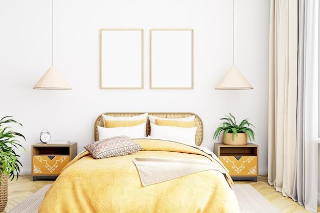 Makieta ramek do zdjęć w sypialni w kolorze żółtym
