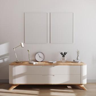 Makieta ramek plakatowych w nowoczesnym wnętrzu. puste ramki nad białą komodą z pięknym wystrojem. styl skandynawski, makieta ramki, renderowania 3d