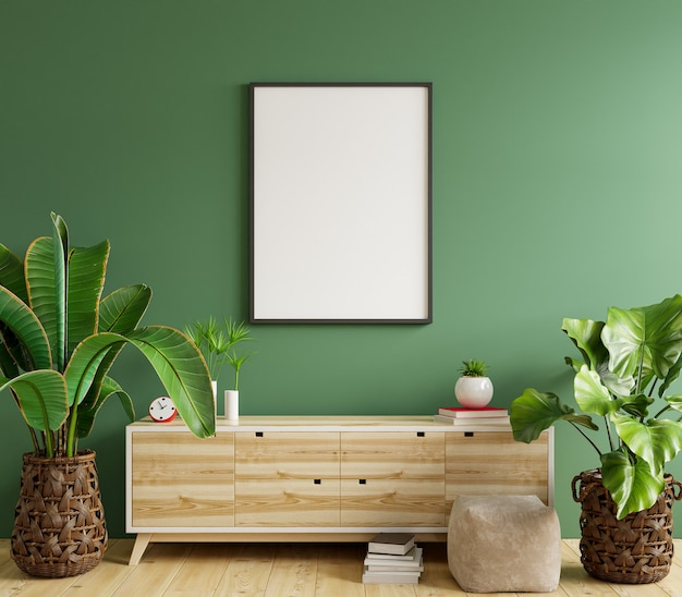 Makieta ramka na zdjęcia na drewnianej szafce z zieloną ścianą, renderowanie 3d