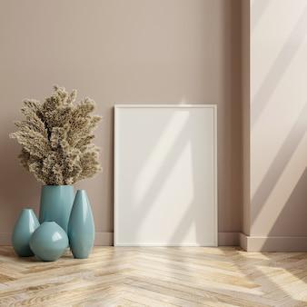 Makieta ramki na drewnianej podłodze we wnętrzu salonu, styl skandynawski, renderowanie 3d