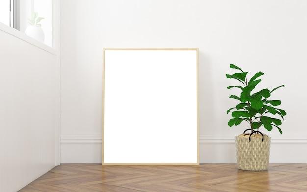 Makieta ramki na minimalnym pokoju z renderowaniem 3d światła w oknie