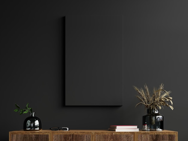 Makieta ramki na szafce we wnętrzu salonu na tle pustej ciemnej ściany, renderowanie 3d