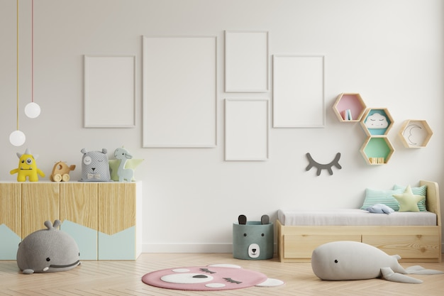 Makieta ramki plakat w pokoju dziecięcym, pokoju dziecięcym, makieta pokoju dziecięcego, biała ściana.