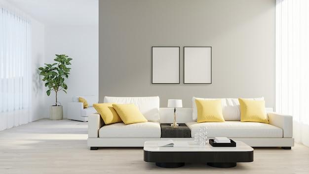 Makieta ramki plakatowej w jasnym nowoczesnym salonie z białą sofą, lampą i zieloną rośliną na drewnianym laminacie. styl skandynawski, przytulne tło wnętrza. makieta jasny stylowy pokój. renderowania 3d
