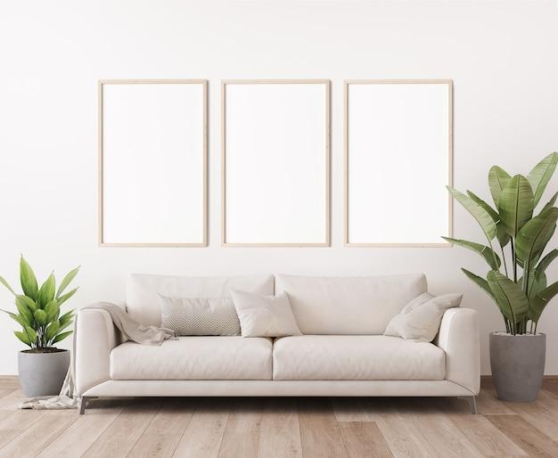 Makieta ramki plakatowej w minimalistycznym, jasnym stylu salonu