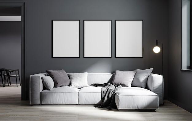 Makieta ramki plakatowej w nowoczesnym tle wnętrza, salon, minimalistyczny styl, renderowanie 3d, ilustracja 3d