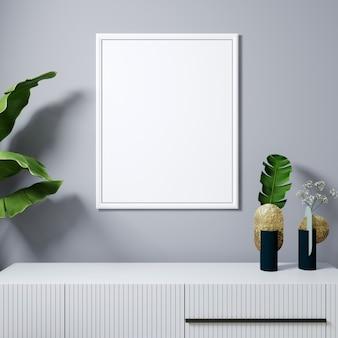 Makieta ramki plakatowej w nowoczesnym wnętrzu z białą ramą i roślinami w wazonie. szarym tle ściany. rendering .3d w stylu skandynawskim