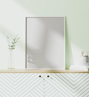 Makieta ramki plakatowej w nowoczesnym wnętrzu z jasnozieloną ścianą, styl skandynawski, renderowanie 3d
