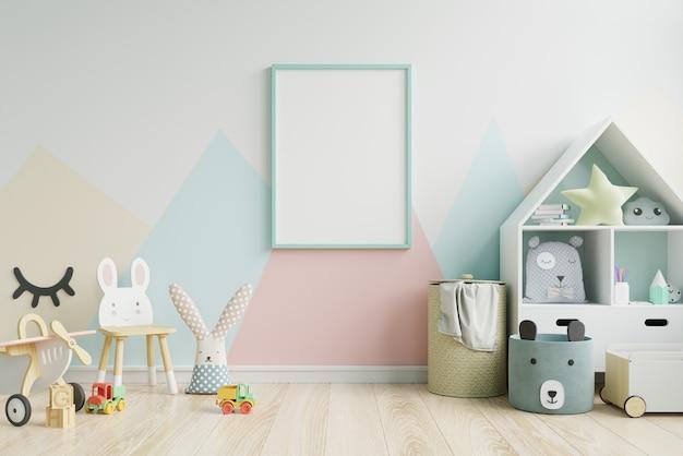 Makieta ramki plakatowej w pokoju dziecięcym
