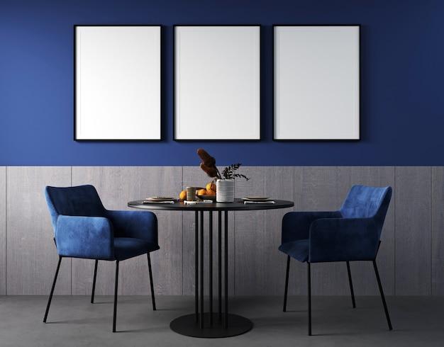 Makieta ramki plakatowej we wnętrzu salonu z niebieskim krzesłem, czarnym stołem i jasną dekoracją w ciemnoniebieskim tle, renderowanie 3d