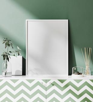 Makieta ramki plakatowej z zieloną ścianą i tropikalnymi liśćmi, renderowanie 3d