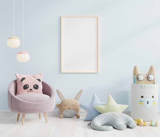 Makieta ramki plakatu w skandynawskich pomysłach na projekt pokoju dziecięcego. renderowanie 3d