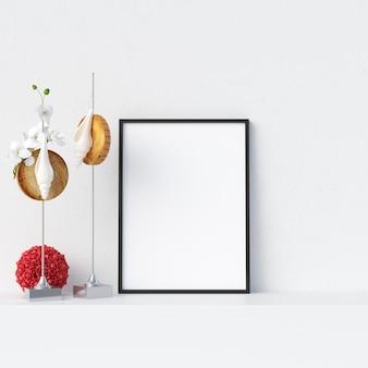 Makieta ramki w białym wnętrzu z dekoracją
