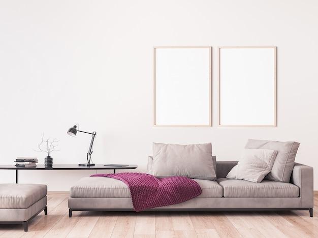 Makieta ramki w nowoczesnym stylu salonu
