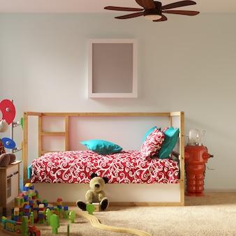 Makieta ramki w sypialni dzieci