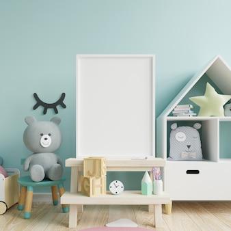 Makieta ramy plakatu w pokoju dziecięcym, pokoju dziecięcym, makieta pokoju dziecięcego, niebieska ściana.
