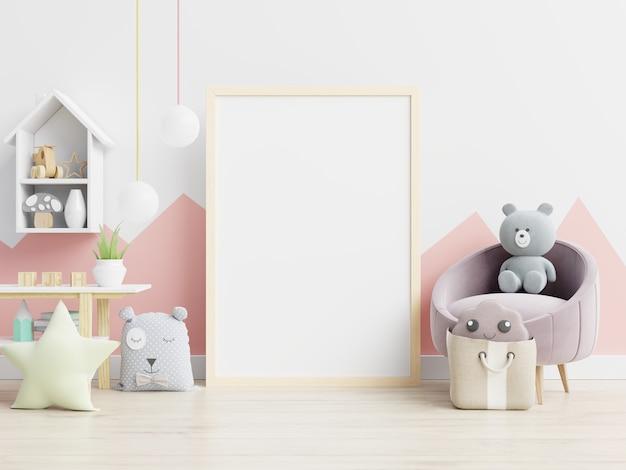 Makieta ramy plakatu w pokoju dziecięcym, pokoju dziecięcym, makieta pokoju dziecinnego.