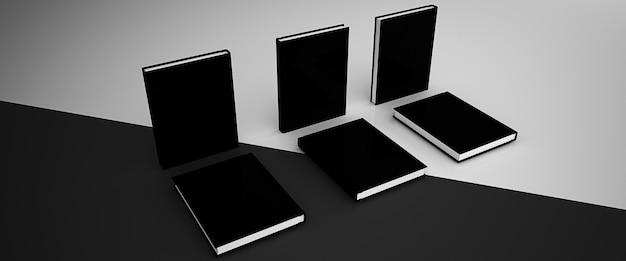 Makieta renderowania 3d, czarno-białe tło z książkami