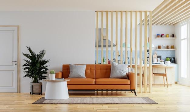 Makieta ścian wewnętrznych salonu w ciepłych kolorach ze skórzaną sofą, która znajduje się za kuchnią. renderowanie 3d