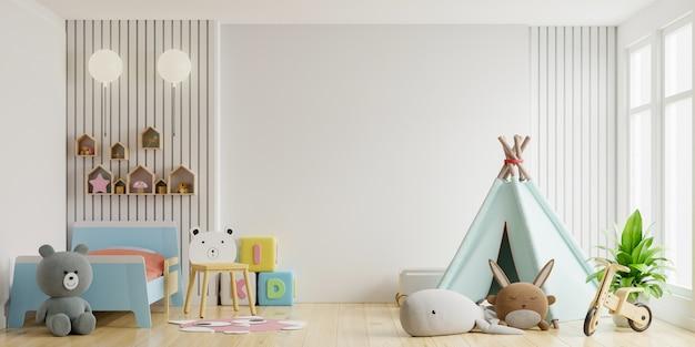 Makieta ściany w pokoju dziecięcym na białej ścianie.