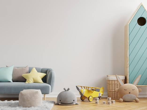 Makieta ściany w pokoju dziecięcym na białym tle ściany .3d renderowania
