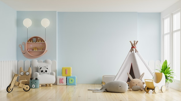 Makieta ściany w pokoju dziecięcym na jasnoniebieskim świetle. renderowanie 3d