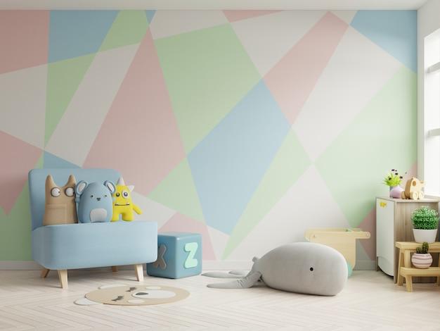 Makieta ściany w pokoju dziecięcym na tle pastelowych kolorach ściany.