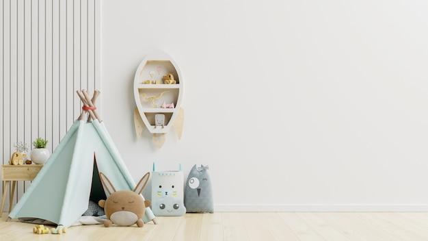 Makieta ściany w pokoju dziecięcym na tle ściany białe kolory