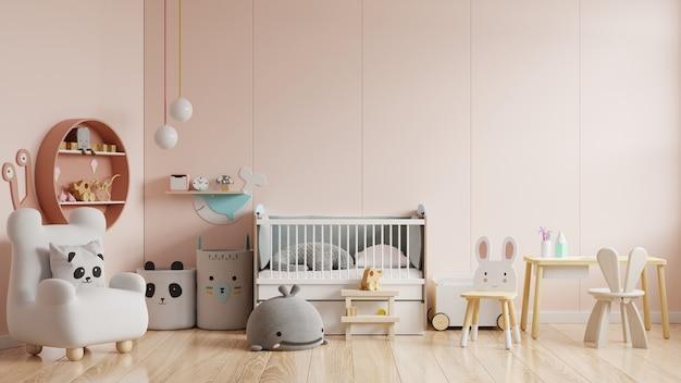 Makieta ściany w pokoju dziecięcym w kolorze kremowym