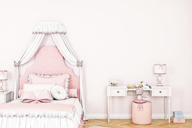 Makieta ściany w pokoju dziecięcym z krzesłem w jasnoróżowym tle ściany3d render