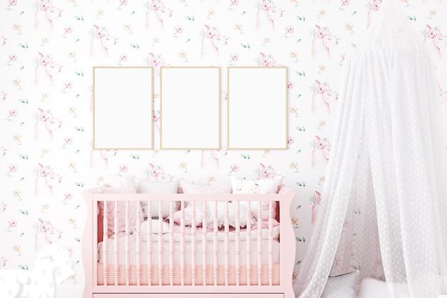 Makieta ściany w pokoju dziecinnym na ścianie w kolorze różowej lamy w tle