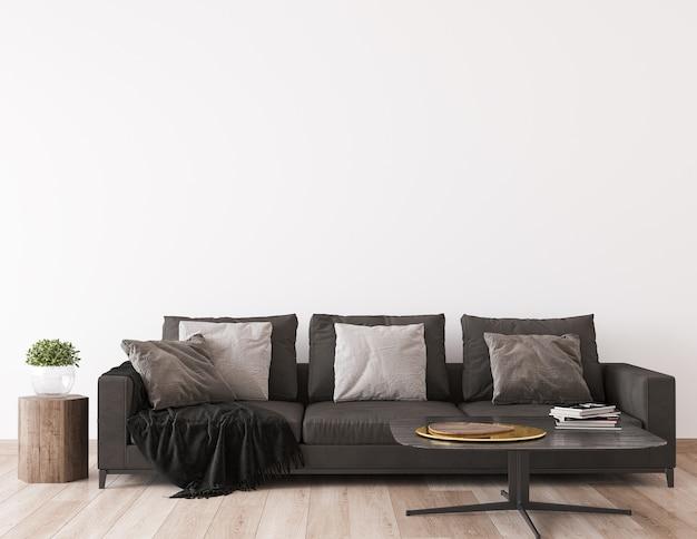 Makieta ściany w skandynawskim stylu salonu, wystrój domu z ciemną sofą