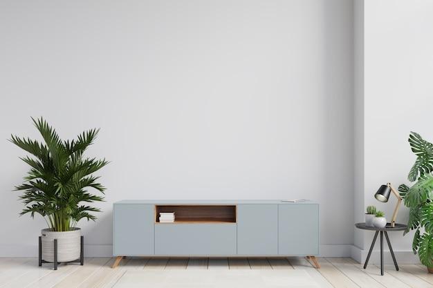 Makieta ściany wewnętrznej szafki tv w nowoczesnym pustym pokoju, minimalistyczny design, renderowanie 3d