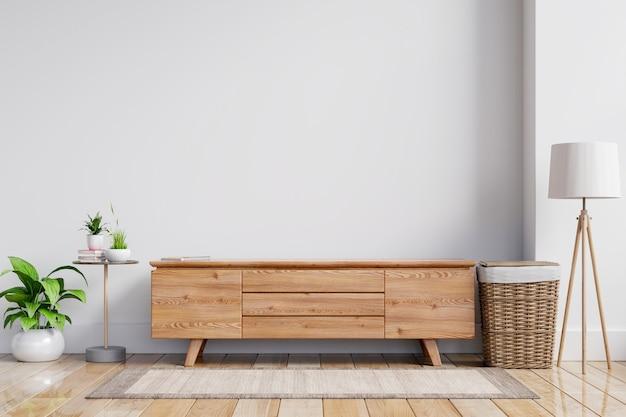 Makieta ściany wewnętrznej szafki tv z drewna w nowoczesnym pustym pokoju, minimalistyczny design, renderowanie 3d