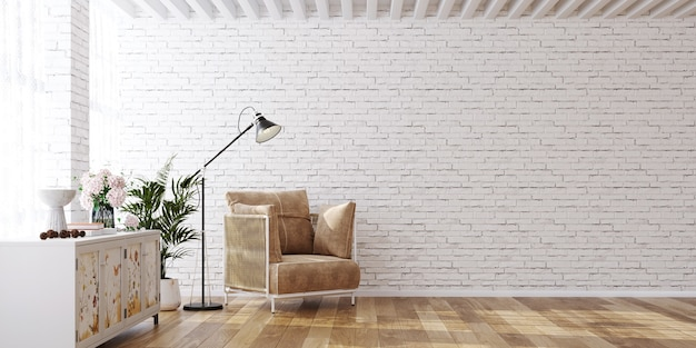 Makieta ścienna w białym prostym wnętrzu z kredensem w fotelu 3d render