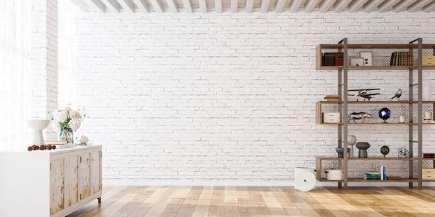 Makieta ścienna w białym prostym wnętrzu z półką i kredensem renderowania 3d