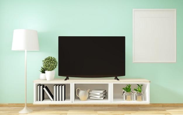 Makieta smart tv, miętowy salon z dekoracją w stylu zen