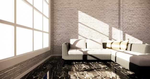 Makieta smart tv z pustym czarnym ekranem zawieszonym na wystroju szafy, nowoczesny salon w stylu zen. renderowania 3d